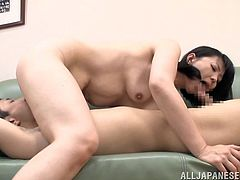 Witness this video where a mature brunette, with natural breasts wearing a cute bra, uses her adroit hands and big mouth to give pure pleasure.