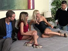 Two seductive hotties provide buddies with awesome blowjob. Light-haired girl gets her wet trench nailed doggystyle and mish. Tattooed sweetie rides dick in a cowgirl pose.