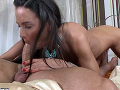Sexy dark-haired chick has mutual oral sex with cocky stud and rides his erected dick in a cowgirl pose. Then she gets her asshole rammed in a sideways pose and doggystyle.
