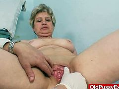 This horny mature amateur babe gets her yummy pussy and her perfect little asshole toyed by her doctor and she loves it.