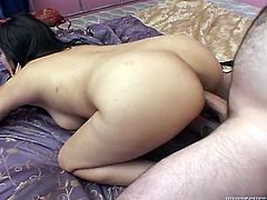 Dark haired whorish harlot with big tits lied in sideways pose and got her kitty pounded hard. A bit later that freak presented her pussy nice doggy fuck. Look at this kinky woman in Fame Digital porn video!