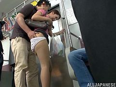 Adorable Japanese girl Miyuki Yokoyam, wearing pantyhose and a skirt, is playing dirty games with a man in a public place. The dude fingers the chick's snatch and she can't help but moan sweetly with pleasure.