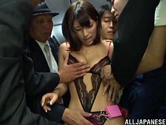 The gorgeous Nami Hoshino gets picked up in the bus by a group of horny men and gets a rough gangbang just the way she likes it.