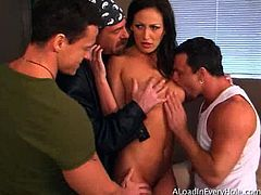 A Load In Every Hole brings you a hell of a free porn video where you can see how the alluring brunette Mandy Bright handles three hard cocks for your enjoyment.