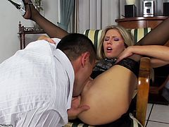 Sexy blonde in hot black stockings gets a nasty cumshot in her filthy mouth after sucking and riding this guy's big hard cock.