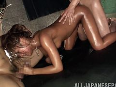 Prepare your cock for this Asian babe, with small boobs wearing a bikini, while she gets nailed hard covered in oil and moans loudly.