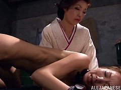 Have a blast watching this Asian brunette, with a nice ass and natural boobs, while she is forced to have sex with nasty men. She's likes to be a slave.