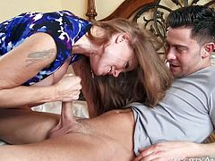 Darla Crane is devilishly hot mature babe who loves taking young guys hard dick in her mouth and pussy. This cougar has a nice time riding Seth Gambles stiff cock in the comfort of her bedroom.