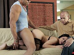 Have fun watching this brunette wife, with a nice ass wearing nylon stockings, while she goes hardcore with a black dude next to her cuckold.