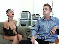 Tattooed Brunette Yells As He Forces His Huge Cock In Her Tight Pussy