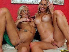 Pretty blonde Zoey Portland and her hot GF are playing lesbian games indoors. They lick and finger each other's cunts, then poke dildos into each other's bumholes.