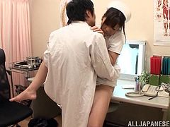 Hot Japanese tart Azusa Ishihara, wearing a nurse uniform, is having fun with a guy in a hospital. She pleases the dude with a blowjob and gets fucked from behind and in the missionary position.