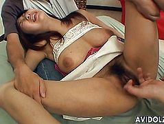 Inviting Japanese chick takes in two fat dongs