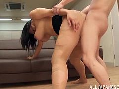 Get a hard dick by watching this Asian brunette, with a chubby body wearing nylon pantyhose, while she gets banged hard over a table.