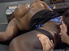 Stunning diva with juicy boobs gets her clam licked and sucks long white cock. Then she gets her twat screwed doggystyle and mish until buddy cums in her mouth.