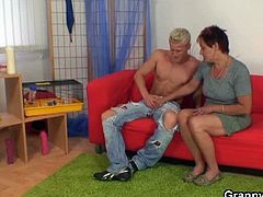 This old chick delivered white rat pet to her son's friend. But that guy has naughty comes in mind. He explore the granny's plump body and fuck her roughly.