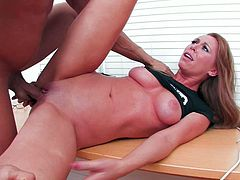 This lovely chick has the mouth every guy want to fuck. Horny dude grabs her by her head and pulls her towards his pecker so she can blow him. She sucks his meat stick greedily to get it hard and ready. When she gets what she wants she asks him to fuck her pretty pink pussy. Horny dude doesn't waste any time as he gets down to business right away.