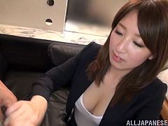 Take a look at this hardcore scene where the horny Anri Oonuki is fucked silly by this guy in her office clothes.