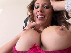 Glamour brunette milf Layla Rivera, wearing high heels, is having a nice time alone. She fingers her cunt ardently and pounds it with huge realistic dildos.