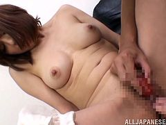 Prepare your cock for this Asian cougar, with huge knockers wearing panties, while she reaches an orgasm after playing with several toys.