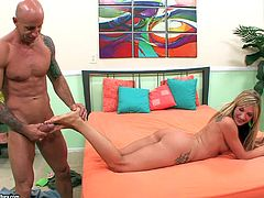 Skinny leggy blondie Amy Brooke gets nailed by bald fucker