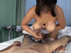Get a hard dick by watching this Asian babe, with natural breasts wearing a nurse uniform, while she uses her best attributes to give pure pleasure.