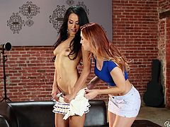 Karlie and Layla are two beautiful lesbians who just got in the mood to play. They strip each other and lick each other tits with those little sexy nipples. After they get both naked they start fingering each other. Layla starts licking her partner's wet pussy. Lesbians on fire...