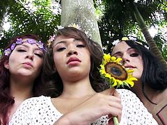 These naughty girls are out in the forrest protesting deforestation. One of the manly loggers comes along and he wants, to chop down the trees. The girls try to stop him, but the only way he will keep the trees, if one of the cuties will suck his cock. The flower girls take turns blowing him. Anything for mother nature.