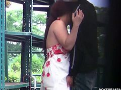 Sexy Japanese teenie with juicy round ass and big natural tits is ready for some amazing outdoor action. Watch as she gets on her knees to suck and fuck like crazy.