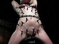 Some have a fetish for bondage kinky devices which combine the pleasure with pain. If you´re curious to find out how it works, dare to click to watch a blonde bitch strongly tied up. The chains and clamps seem to cause her a permanent sufferance. Hear her moaning and screaming helplessly!
