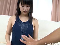 Click to watch this Japanese doll, with a nice ass wearing a bathing suit, while she acts like a very shy girl in a solo model video.