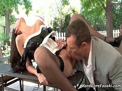 Tall sexy maid has her snatch licked