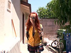 Dani Jensen appears dressed in a hot schoolgirl uniform. She studies with three of her colleagues, but not for long. She wants to eat ice cream with cum on top.