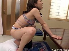 Be part of this video where an Asian brunette, with natural boobs wearing sexy lingerie, while she gets pounded hard in different positions.