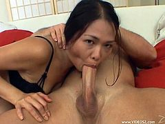 She starts things off by wrapping her feet around this guy's shaft and jerking him off then she lets him drill that sweet pussy hard.