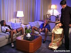 These three hot babes play with each other then they are joined by a guy for a wild, crazy and intense foursome on the floor.