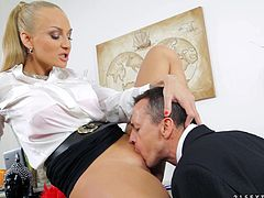 Gorgeous light-haired wench has mutual oral sex with buddy and bounces on his cock in a cowgirl pose. Then she gets her asshole drilled mish and doggystyle until man cums on her appetizing boobs.