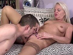Take a look at this hardcore scene where a horny mature blonde by the name of Anett is eaten out and fucked silly by this guy after she sucks on his hard cock.