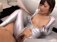 Get a boner by watching these Asian dolls, with natural boobs wearing sexy outfits, while they have clothed sex with one fortunate guy.