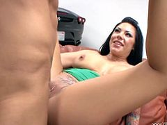 Lascivious bitch sucks massive dick and rides it in a cowgirl pose. Afterwards she gets her dripping wet poontang polished mish and doggystyle.