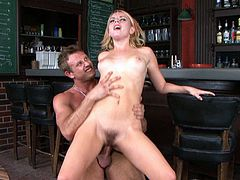 Naughty blonde Lexi Belle rides bartender's cock reverse cowgirl style
