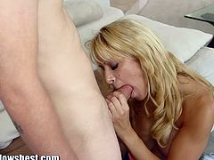 Checkout this blonde busty milf who will reveal you her mouth banging session, in this new mommy blows best video. This naughty blonde MILF is ready to press this super large tool with her giant boobs and squeeze it until it will be huge enough to fill her entire mouth. Watch her suck this cock dry untill she gets load of warm cum in her mouth.