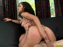 The sexy Annika wears a sexy red thong as she gives this dude a hot head and ends up taking his hard cock up her hairy wet pussy.