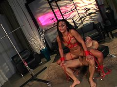 Sexy babes Jayna Oso and Alektra Blue get incredibly horny while sucking on a big hard cock in this nasty bondage fuck with a horny dude.
