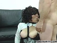 A busty amateur Milf homemade hardcore anal threesome with sextoy and facial cumshots !