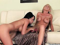 Nikki Benz with juicy hooters gets the pleasure from eating Alektra Blues twat