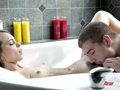 Check out this great hardcore scene where the sexy Riley Reid is eaten out by her lover inside a tub before being fucked silly.