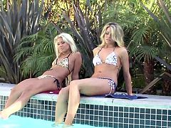 Share this with your friends! Three blonde dolls, with nice butts wearing bikinis, touch, lick and finger each other's pussies ardently.