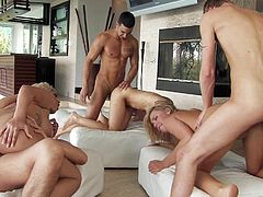 Have fun jerking off to this amazing group sex where these smoking hot babes are fucked by large cocks as you hear all of them moan.