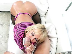 Clover gives lustful Mellanie Monroes backdoor a try in hardcore action before cock sucking